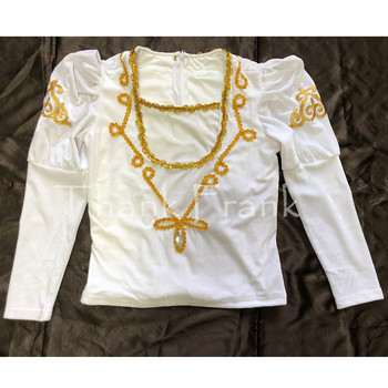 Boys Prince Ballet Top Custom Made Available Men Long Sleeve Gold Sequin Trim Dance Costume C414