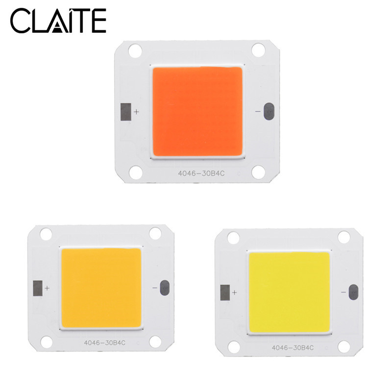 CLAITE COB LED Grow Lamp Chip Full Spectrum 50W DIY LED Plant Grow Light Chip White / Warm White DC12V-14V LED Chip For Indoor