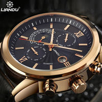 LIANDU Moon Phase Men S Casual Quartz Watch Multiple Time Zone 3D Engraved Dial Genuine Leather