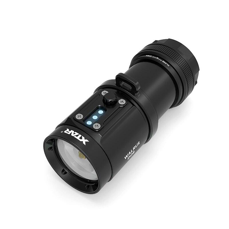 XTAR WALRUS D08 lampe de poche de plongée 2000 Lumen pour Camping en plein air torche de chasse + 4 pièces 18650 3000 mAh batterie + BC4 chargeur