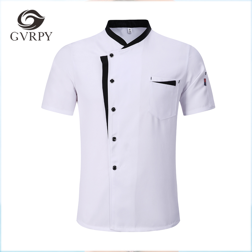 M-3XL High Quality Wholesale Unisex Kitchen Cooker Chef Uniforms Bakery Food Service Short Sleeve Breathable Chef Jacket & Apron