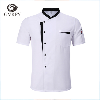 M-3XL High Quality Wholesale Unisex Kitchen Cooker Chef Uniforms Bakery Food Service Short Sleeve Breathable Jacket & Apron