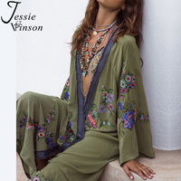 Jessie Vinson Women Plus Size Long Sleeve Perspective Flower Embroidery Long Cardigan Kimono Beach Sun Proof Cover up Overall
