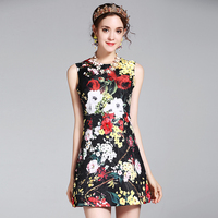 Boutique Inspiriert Mode Vintage Rose Druck Ärmelloses Kleid 2017 blackDress