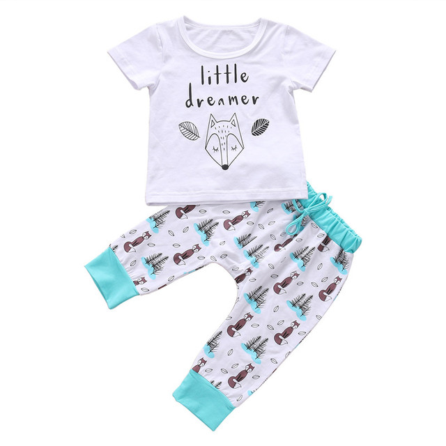 0-2Y Summer Newborn Baby Little Dreamer Animal T-shirt Tops+Pants Set