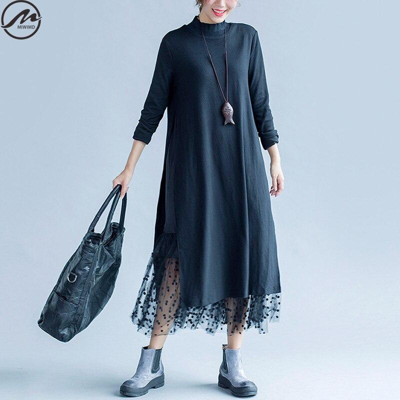 MIWIMD בתוספת גודל סתיו חורף שמלות נשים 2017 אופנה חדשה Loose מקרית שרוול ארוך כותנה טהורה כפולה טלאי תחרה שמלה