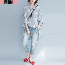 Dimanaf плюс Размеры блузка Для женщин Летнее хлопковое Полосатое принтом Асимметричные подолы женский Повседневное модная блуза свободные большой Размеры