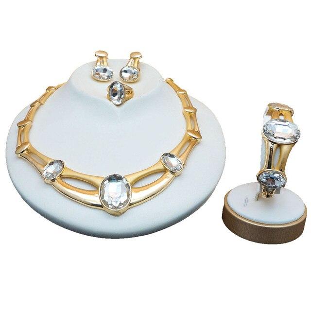 Bunte stein schmuck set für damen Frauen Braut Schmuck Sets Luxus halskette set in schmuck sets gestüt drop errings schmuck