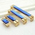 1 Pcs Europa Cristal Azul Ouro knob Puxador Wardrob Armário Armário Puxadores Alças Dresser Gaveta Handle Pull Com Parafusos