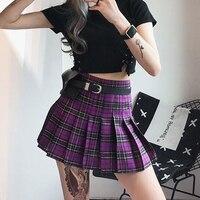 New 2019 Spring Summer Skirts Women High Waist Female Plaid Skirt Harajuku Style Casual Pleated Skirts Womens Sexy Shorts Skirts