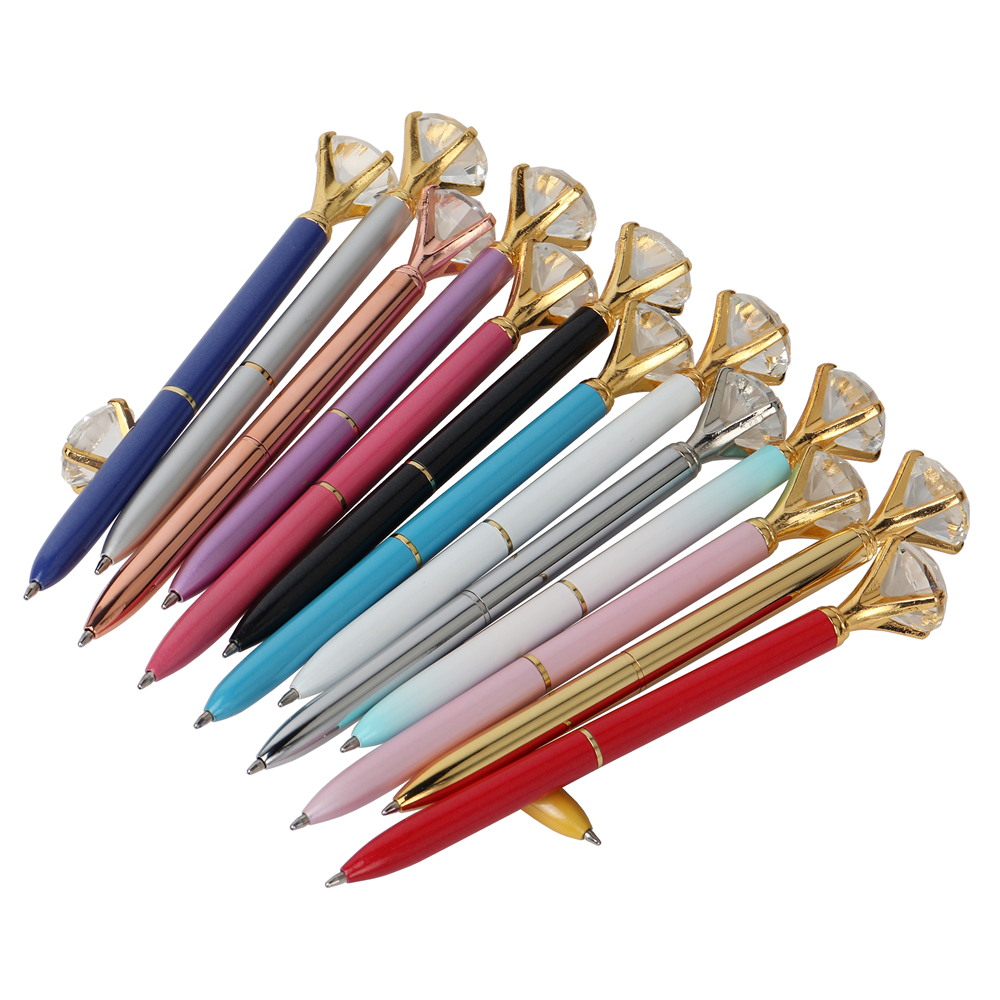 Baikingift 21Color Kawaii Ballpoint Pen Big Gem Metal Ball Pen School Office Supplies