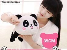 stuffed plush toy about 35cm lying happy panda doll soft pillow birthday gift h0667(China)