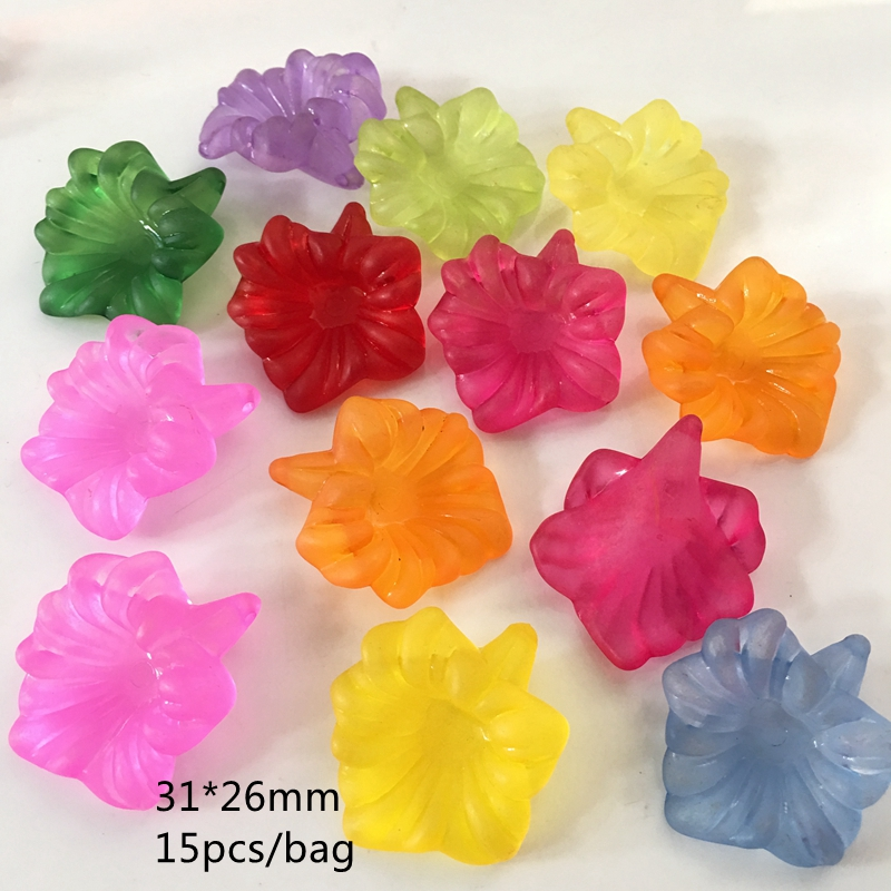 Acrylic Translucent Morning Glory Flower Beads For Jewelry Making Handmade DIY Craft Accessories 31*26mm 15PCS/bag