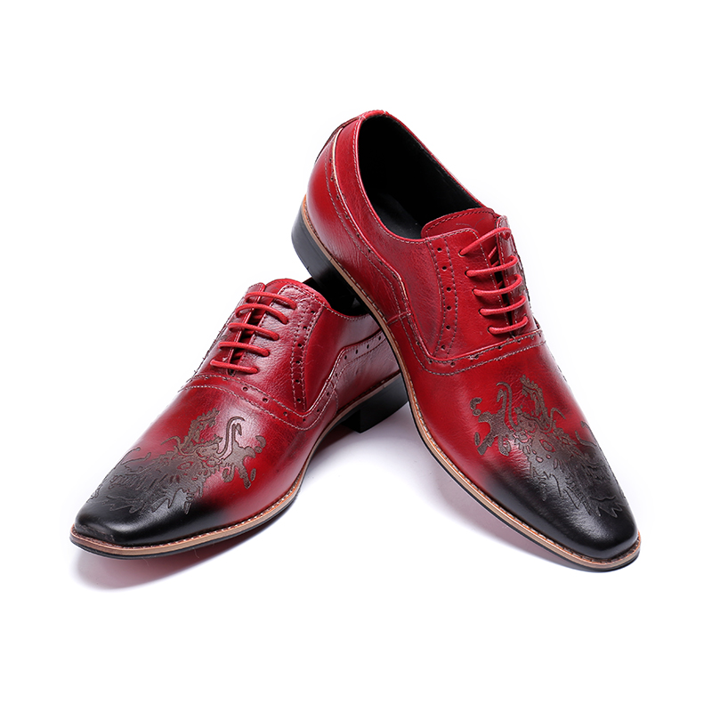 Red Wedding Men Oxfords Shoes British Style Carved Genuine Leather Shoe Brown Brogue Shoes Lace-Up Bullock Business Men's Flats цена 2017