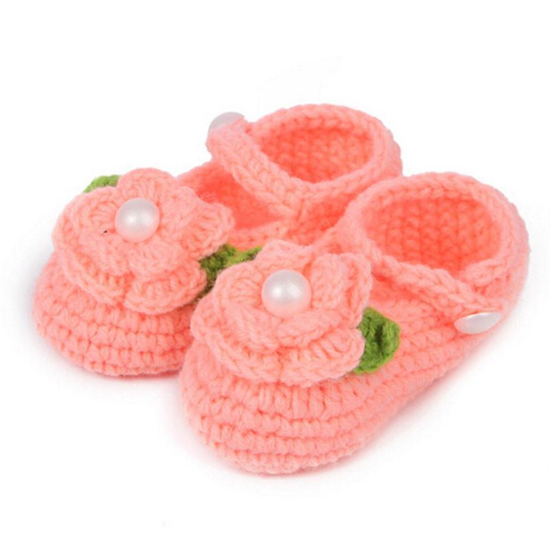 Toddler Shoes Crib Crochet Casual Baby Girls Handmade Knit Sock Infant pearl Rose Shoes Tenis Infantil Menina