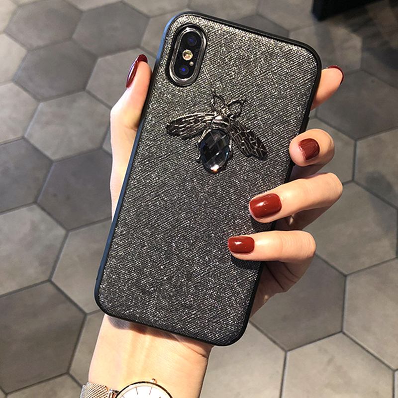 Luxury Fashion brand Diamond Bee Glitte soft case for iphone 6 S 7 8 plus X XR XS Max Cute Hard Cover for iphone 7 8 5 5S SE 6S (2)