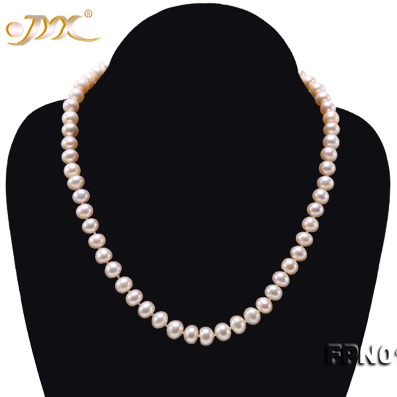 JYX Elegant jewelry necklace Natural Light Pink Flat Round Freshwater Cultured Pearl 8-9mm Necklace 18\