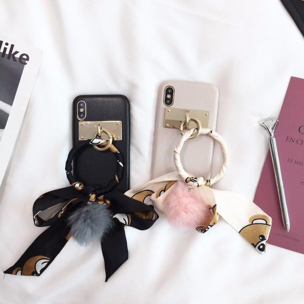 Maosenguoji овчины большое кольцо медведь лента Чехол для мобильного телефона для iphone6 6 S 6 Plus 7 Plus 8 Plus x модные пару чехол для телефона