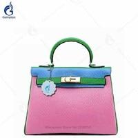 Того Кожа для женщин кожаные сумочки дизайнер замок Tote классический бренд 100% пояса из натуральной кожи сумка со вставками хит цвет розовый