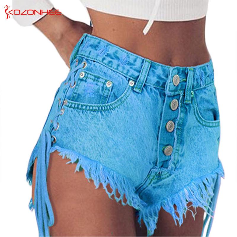 Women Emerald Denim   Shorts   High Waist Straps Tassel Bandages Denim   Shorts   Female Summer Jeans   Short   #68