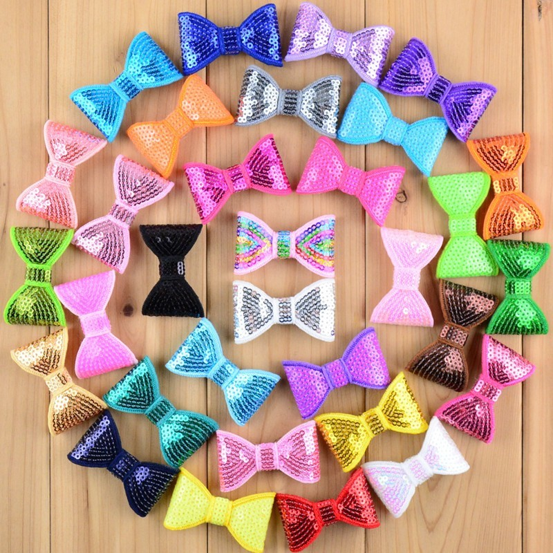 100pcs/lot 32 Color 2 Inch Petit Glitter Embroideried Sequin Bows Kids Boutique Hair Bow Garment Shoes Hair Accessories HDB12
