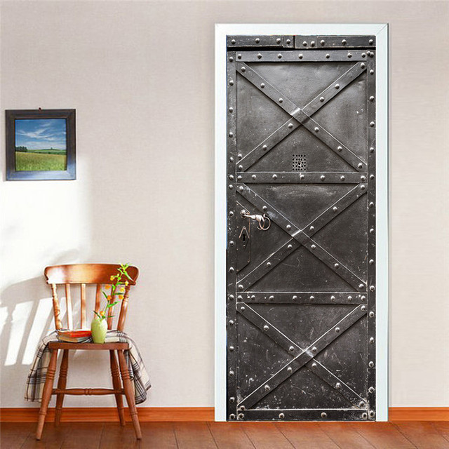 Funlife Imitation 3D Wall Sticker Vintage Iron Door Home Decor Waterproof  Self Adhesive Wall Poster Part 44