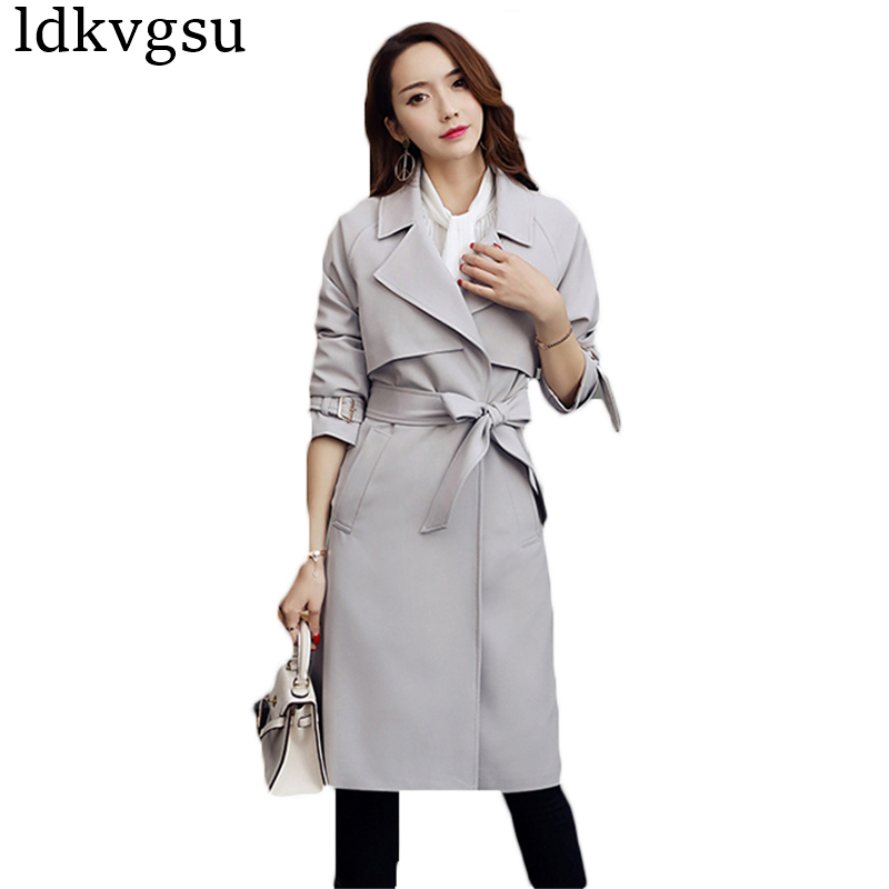 New Fashion 2019 Spring Autumn Long   Trench   Coat Women Classic Turn Down Collar Casual Windbreaker With Belt Outerwear Femme A588