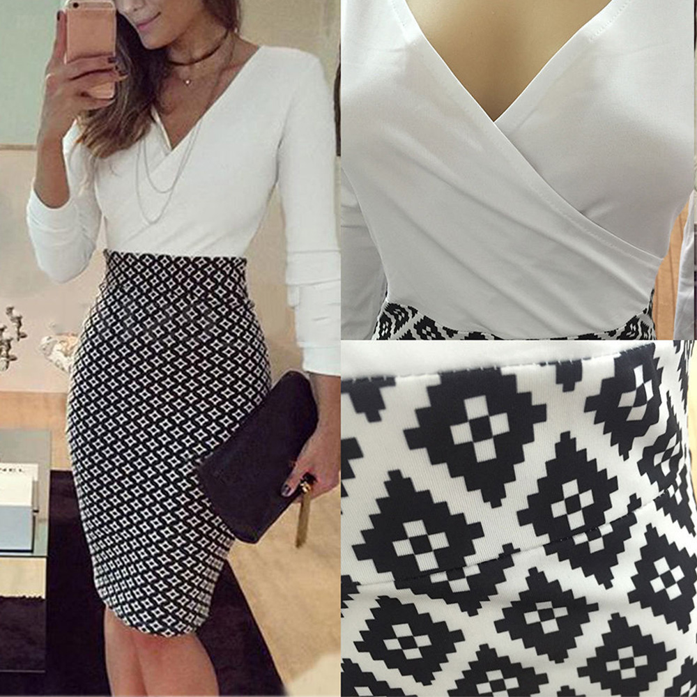 Women's Office dress Formal Business Stretch Cocktail Party elegant grid patchwork sheath Slim OL work mini lady Pencil Dress 4