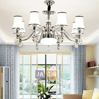 Led e14 pós moderna ferro cristal de vidro cromo led lustre iluminação led luz led lâmpada para foyer sala jantar