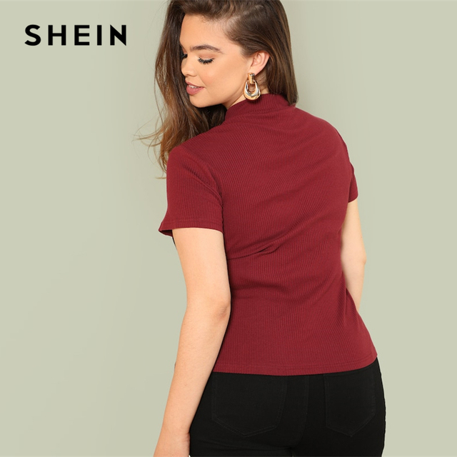 SHEIN Multicolor Plus Size Color Block Rib Knit Fitted Stand Collar Stretchy Tee 2019 Summer Women Short Sleeve Casual T Shirts 2