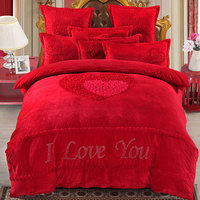 4Pcs Red fabric for raising fabric luxury bedding sets queen king size duvet cover set bed skirt set pillowcase bedclothes