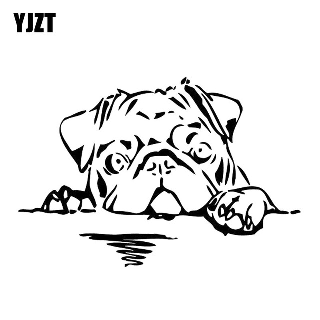 Yjzt 15cm10cm Pug Dog Decal Vinyl Car Sticker Animal Bread Cute