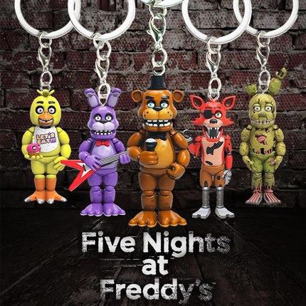 5CM Five Nights At Freddy's Keychain Action Figures Toys Anime PVC FNAF Freddy Bonnie Keychain Ring Halloween Toys For Children