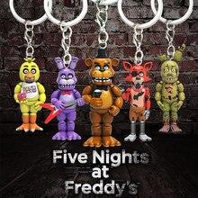 5CM cinco noches en el llavero de Freddy figuras de acción juguetes Anime PVC FNAF Freddy Bonnie llavero anillo juguetes de Halloween para los niños
