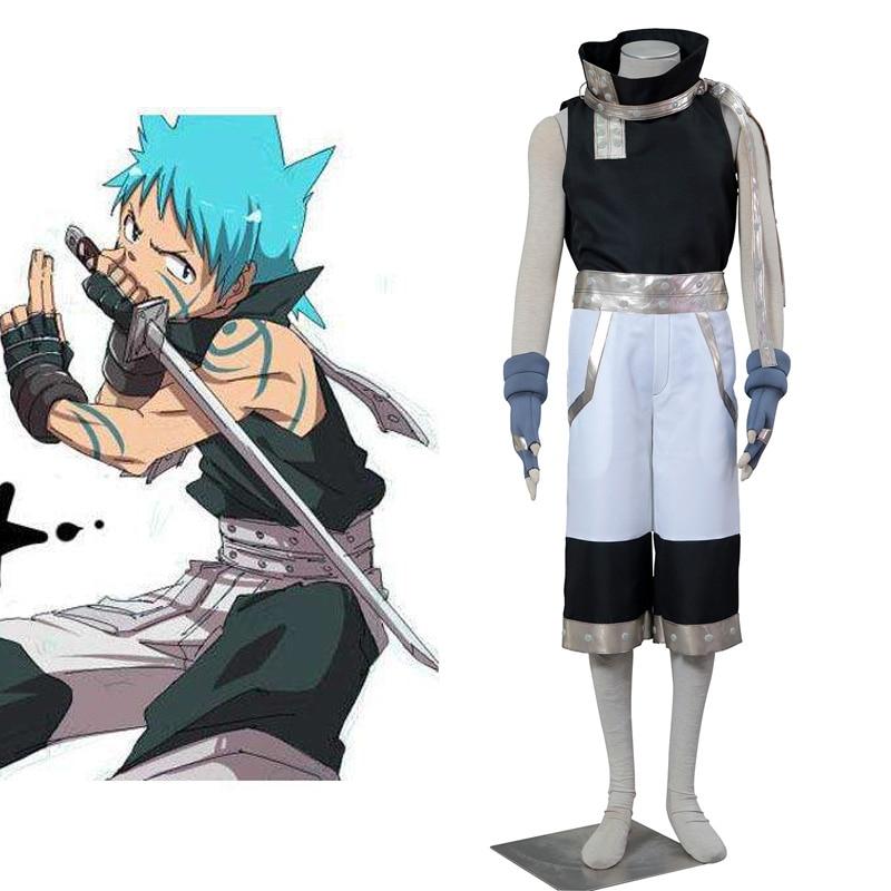 Soul Eater Black Star Cosplay Costume Warrior God Assassin Costume Funnel Collar Halloween Complete Set Men Party costume