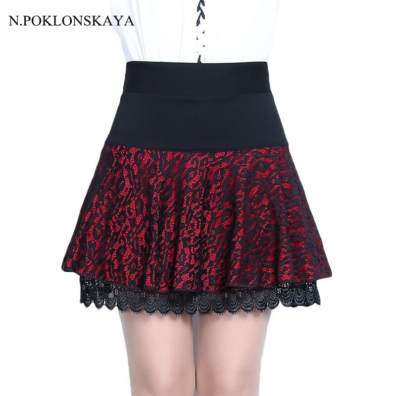 Autumn Skirt For Women 2017 Lady Girls Short Lolita Sexy A-Line Lace Black Red Pleated Mini Skirts Formal Faldas Saia Shorts