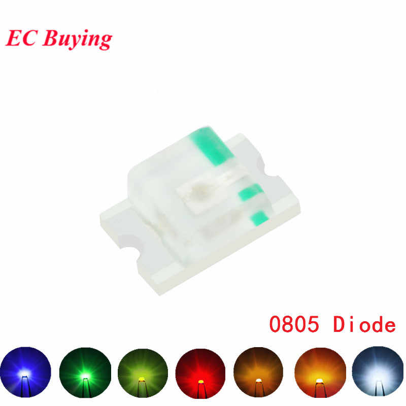100 Uds 0805 (2012) SMD LED Ultra brillante rojo azul Amarillo Blanco naranja Color LED diodo emisor de luz DIY