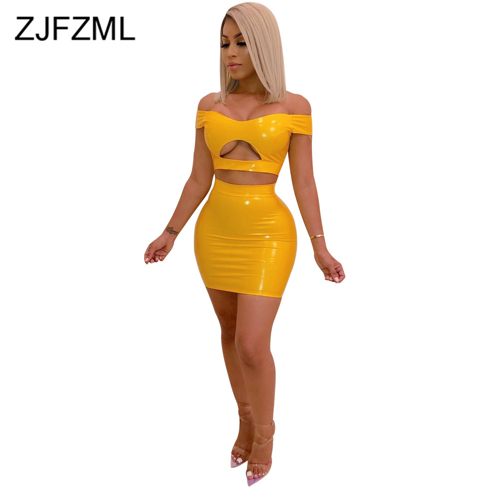 PU Leather Two Piece Matching Set Women Slash Neck Front Cut Out Crop Top And Bodycon Skirt Neon Yellow Orange 2 Piece Tracksuit