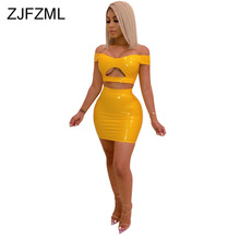 PU Leather Two Piece Matching Set Women Slash Neck Front Cut Out Crop Top And Bodycon Skirt Neon Yellow Orange 2 Tracksuit
