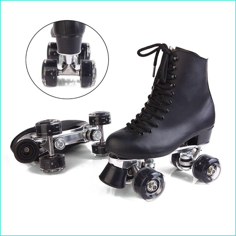 Prix pour Double Patins à roulettes Noir Véritable En Cuir Avec Led Roues Deux Côté De Patins À Roulettes Patins Hommes Patins Patins Adultes Chaussures de Skate