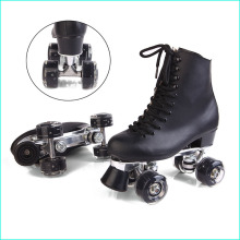 Double Roller Skates Black Genuine Leather With Led Wheels Two Side Roller Skate Patins Men Skates Patins Adult Skate Shoes