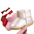 Baby Cowboy Snowboots Genuine Leather Hook & Loop Soft Soled Baby Girl Winter Boots Infant Toddler Winter Shoes First Walkers
