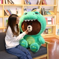 100cm Brown Bear Big Plush Toy Huge Korean Bear in Dinosaur/Pig/Dog/Suit Cute Anime Figure Soft Doll Kids Toys Gift For Her