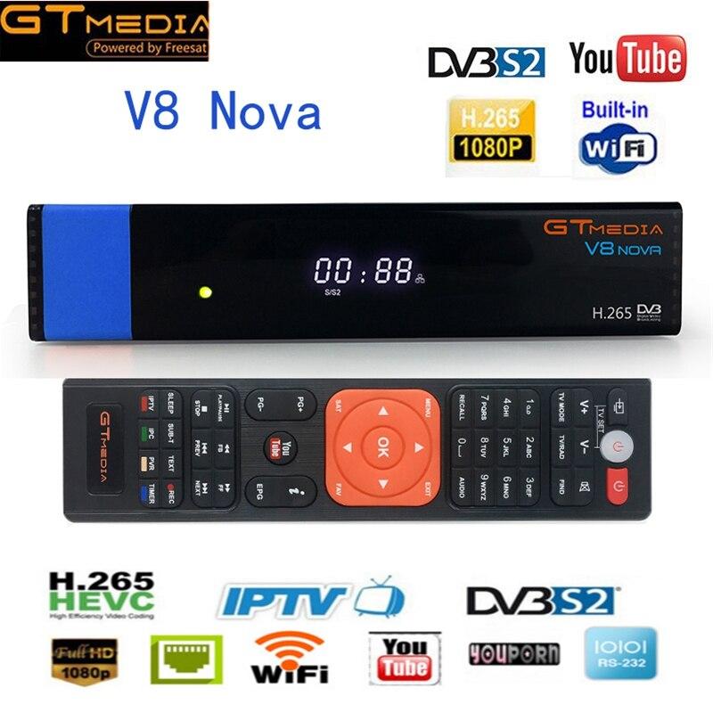 GTMEDIA V8 NOVA Blue DVB-S2 TV Satellite Receiver,PowerVu,Biss key H.265,Built-in WiFi With AV Interface Digital TV Set Top Box gtmedia v8 nova blue vs v8 nova blue dvb s2 hd satellite receiver support h 265 decoder newcamd power vu biss built wifi tv box