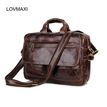 LOVMAXI 2017 100% Real Cow Leather Man Bags Business Handbags Wax Oil Leather Briefcases Male Shoulder Bags 7085 Brown TOTE