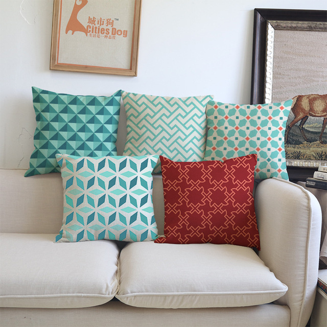 geometrica verde fodere per cuscini in cotone e lino
