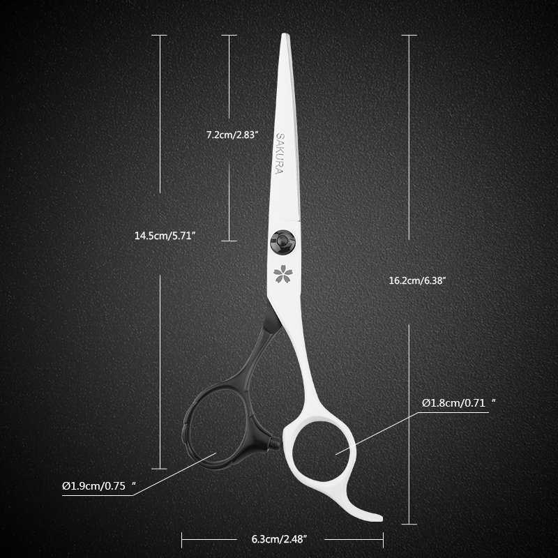 Cherry Blossoms 6 Inch Cutting And Thinning Scissor Salon Hairdressing Set Bladck and White 9cr13 Stainless Steel Handle