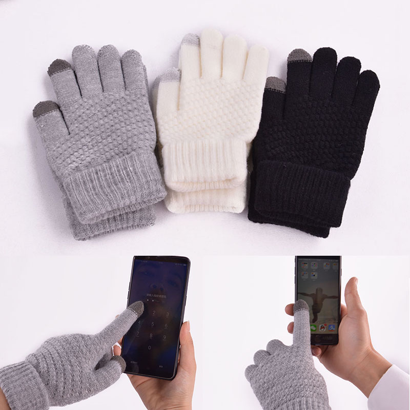 Women Cotton Knitted Touch Screen Gloves Soft Mittens Warm Winter Driving Gloves