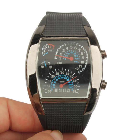 3b0bf1c2 Best Часы светодиодный цифровой свет в двоичной матрица авиации часы Для  мужчин спортивные наручные часы черный