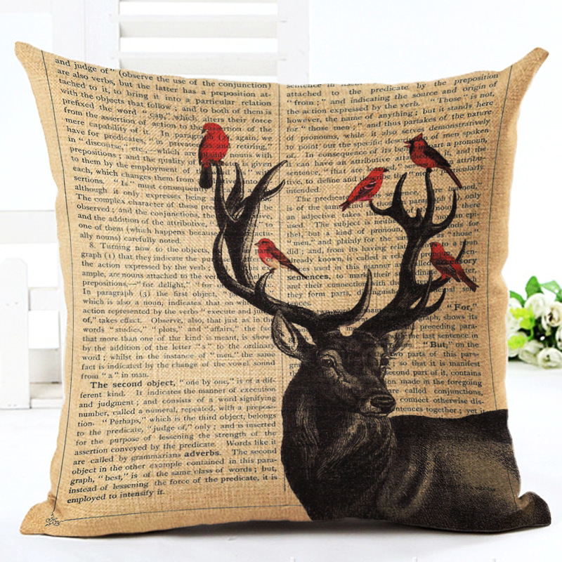 Cute Bird Elk Butterfly Cushion C Linen Cotton Pillow Sofa Cushion Decorative Pillow /Th ...